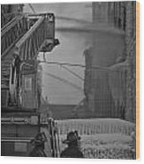 Chicago Firemen Looking On Wood Print