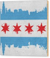 Chicago Flag Wood Print