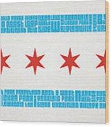 Chicago Flag Neighborhoods Wood Print