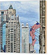 Chicago - Flags Along Michigan Avenue Wood Print