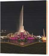 Chicago Fountain At Night Wood Print