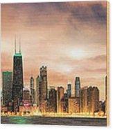 Chicago Gotham City Skyline Panorama Wood Print