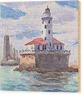 Chicago Harbor Light Wood Print
