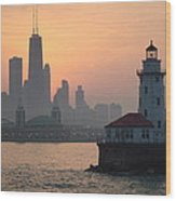 Chicago Harbor Lighthouse At Sunset Wood Print
