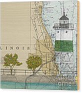Chicago Harbor Se Guidewall Lighthouse Il Nautical Chart Art Wood Print