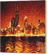 Chicago Hell Digital Painting Wood Print