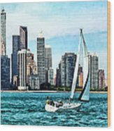 Chicago Il - Sailboat Against Chicago Skyline Wood Print