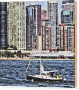 Chicago Il - Sailing On Lake Michigan Wood Print