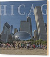 Chicago Illinois Bean Letters Wood Print