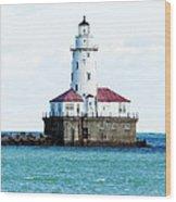 Chicago Illinois Harbor Lighthouse Close Up Usa Wood Print