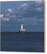 Chicago Illinois Harbor Lighthouse Early Evening Usa Wood Print