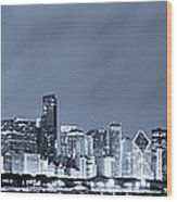 Chicago In Blue Wood Print