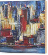 Chicago In The Evening Wood Print