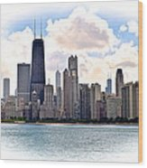 Chicago In The Spotlight Wood Print