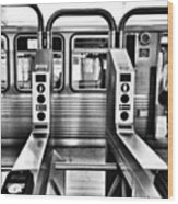 Chicago L Train Gate In Black And White Wood Print
