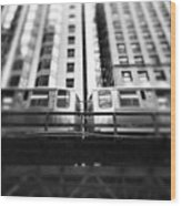 Chicago L Train In Black And White Wood Print