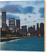 Chicago Lake Front At Blue Hour Wood Print