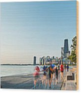 Chicago Lakefront Panorama Wood Print by Steve Gadomski