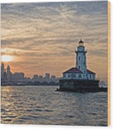 Chicago Lighthouse And Skyline Wood Print