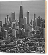 Chicago Looking East 01 Black And White Wood Print