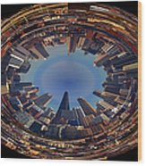 Chicago Looking East Polar View Wood Print by Thomas Woolworth