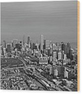 Chicago Looking North 01 Black And White Wood Print