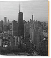 Chicago Looking South 01 Black And White Wood Print
