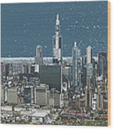 Chicago Looking West In A Snow Storm Digital Art Wood Print