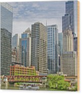 Chicago Loop Downtown Skyline From Chicago River   Wood Print