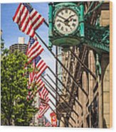 Chicago Macy's Clock And Chicago Theatre Sign Wood Print