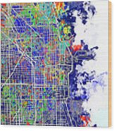 Chicago Map Color Splash Wood Print