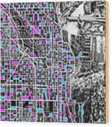 Chicago Map Drawing Collage 4 Wood Print