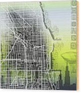 Chicago Map Gradient Wood Print