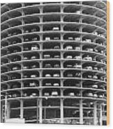 Chicago Marina City Parking Bw Wood Print