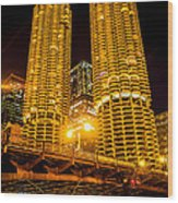 Chicago Marina City Towers At Night Picture Wood Print