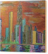 Chicago Metallic Skyline Wood Print by Char Swift