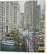 Chicago Michigan Avenue V Hdr Textured Wood Print