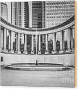 Chicago Millennium Monument In Black And White Wood Print by Paul Velgos
