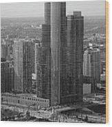 Chicago Modern Skyscraper Black And White Wood Print