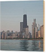 Chicago Morning Wood Print