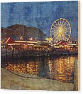 Chicago Navy Pier At Night Wood Print