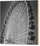 Chicago Navy Pier Ferris Wheel In Black And White Wood Print