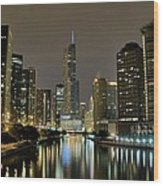 Chicago Night River View Wood Print
