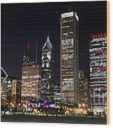 Chicago Night Skyline Wood Print