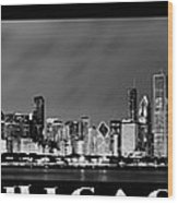 Chicago Panorama At Night Wood Print