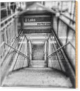 Chicago Lake CTA Red Line Stairs Wood Print