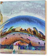 Chicago Reflected Wood Print by Jeff Kolker