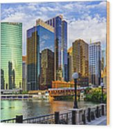 Chicago River & Willis Tower Wood Print
