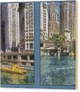 Chicago River 2 Panel Wood Print