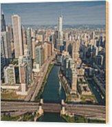 Chicago River Aloft Wood Print